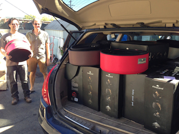 A truckload of Sleepypod products destined for Lifeline for Pets, a no-kill animal rescue group in Pasadena, Calif.
