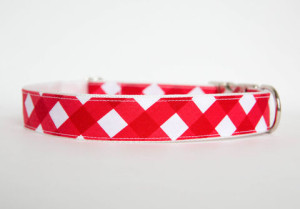 Gingham_Dog_Collar_-_Red_large