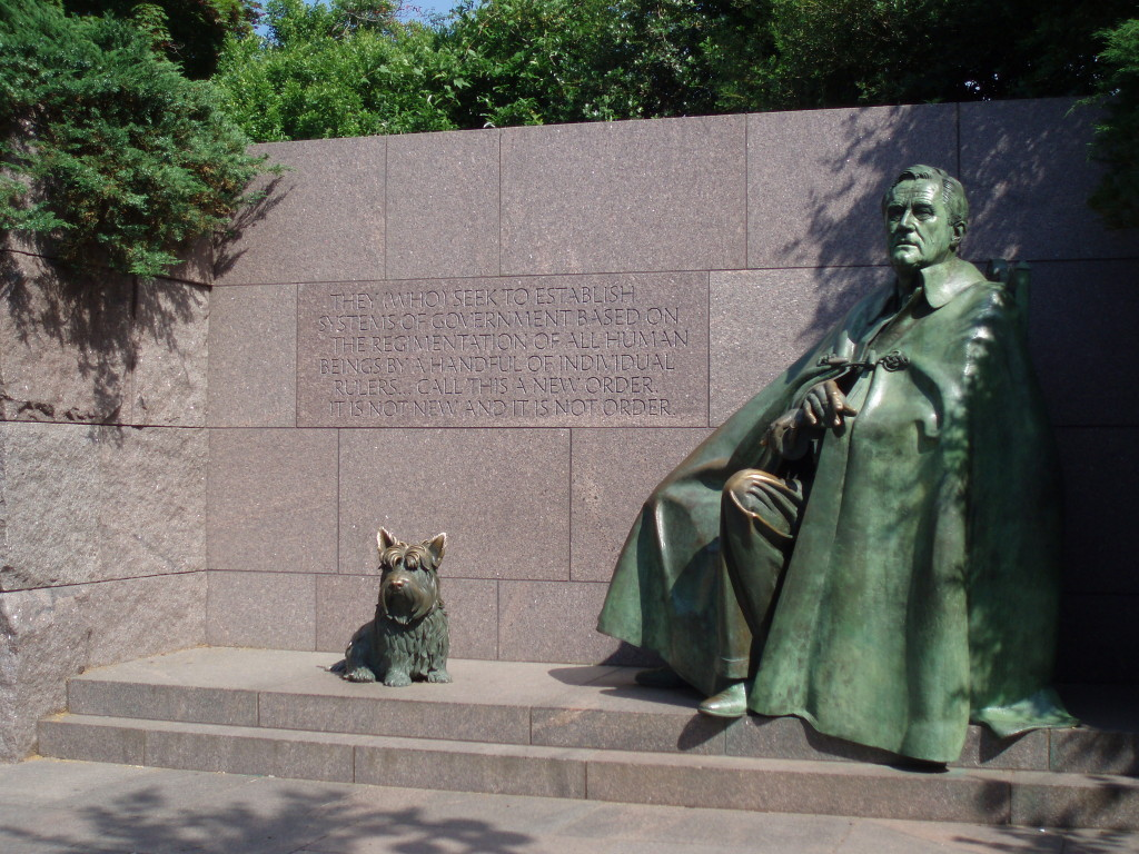 Franklin Roosevelt depicted with is dog Fala at the Franklin Delano Roosevelt Memorial (Photo: NPS)